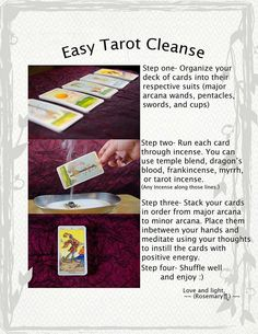Tarot cleanse...I usually wrap them in silk and place a crystal on them ubtil the next reading but this is interesting!