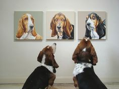 Bassets at the museum.