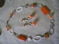 Orange necklace and earrings