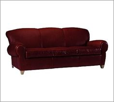 Manhattan Leather Sofa #potterybarn   Berry Red