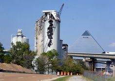 Demolition of Lonestar cement silos - Downtown Memphis