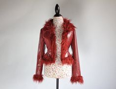 90's Vegan Red Faux Monster Fur Rave Goth by FeelingVagueVintage, $88.00
