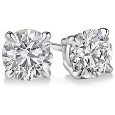 Certified Sterling Silver 1/2CTtw Diamond Stud Earrings ($144) ❤ liked on Polyvore featuring jewelry, earrings, white, round diamond earrings, polish jewelry, sterling silver earrings, round earrings and earring jewelry