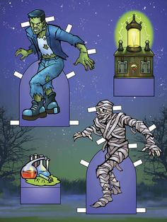 Glow in the Dark Ghoul Paper Doll Outfits