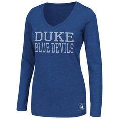 Duke Blue Devils Women's Hybrid Long Sleeve V-Neck T-Shirt - Duke Blue