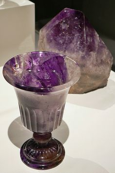 Carved Amethyst Chalice; photo by Howdycuz, via Flickr | This was taken in the Houston Museum of Natural History's New Paleontology Exhibit- (2012)