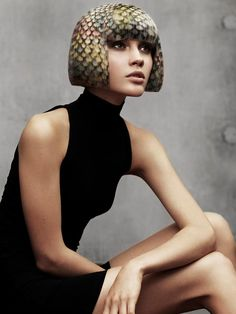Angelo Seminara multi-coloured patterned bob How to get the look A multicoloured bob was prepped with smoothing creme and blow-dried using a Denman brush to achieve a smooth, straight finish. 2015 Hairstyles, Creative Hairstyles, Blonde Hairstyles, Hair Stenciling, Angelo Seminara, Avant Garde Hair, Extreme Hair, Dreadlocks, Fantasy Hair