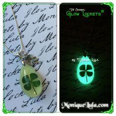 Glowies.net - Lucky Clover Glowing Shamrock Teardrop Necklace