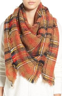 Orange Plaid Scarf - plaid blanket scarf - fall fashion - The Fashion Hour Blog - www.thefashionhour.com