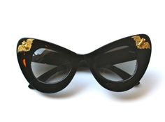 OOAK Black Thick Cat Eye Sunglasses with brass bats by PenelopeMeatloaf, $34.00
