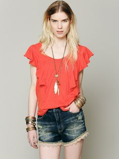 We The Free Ruffle Tee at Free People Clothing Boutique