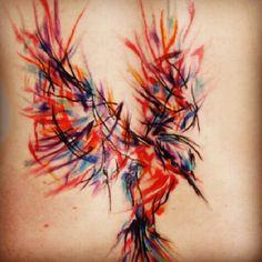 Abstract Watercolor Tattoos: Multicolor hummingbird