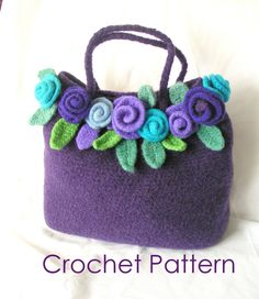 Felted Rose Bag Crochet Pattern Tutorial pdf  Crochet by GraceG2, $12.50