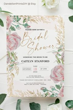 Introducing ROSE – A romantic pink and gold rose watercolour bridal shower template. ☞ download and edit the template file in minutes, you can edit almost everything on the file, including fonts, font colours, positions, background colours. The flower colours are not editable. #pinkbridalshower #rosebridalshower #floralbridalshower #bridalshowerinvite Pocket Invitation, Invitation Kits, Rose Watercolour, Diy Wedding Templates, Blush Bridal Showers, Stationery Templates, Wedding Stationary, Bridal Shower Invitations, As You Like