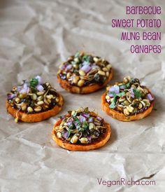 Vegan Richa: Sweet Potato Canapes with Barbecue Mung Bean Sprouts. Vegan Glutenfree Grainfree Recipe for Virtual Vegan Potluck. BBQ sauce Recipe too. Vol Au Vent, Roasted Sweet Potatoes, Tapas, Sauce Recipes, Vegan Recipes, Vegan Food, Vegan Snacks, Food Food, Appetizer Recipes