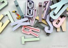Descarga Gratis: Letras en 3D para decorar. Free printable : x4duros.com #DIY #crafts