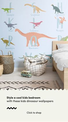 Get up close and personal with the dinosaurs from a lost world with this collection of fun, educational kids wallpapers. Dinosaur Wallpaper, Alphabet Wallpaper, Kids Wallpaper, Bedroom Wallpaper, Cool Kids Bedrooms, Trendy Bedroom, Bedroom Kids, Kid Bedrooms, Blue Bedroom Decor