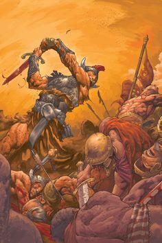 Fan of epic fantasy art! Red Sonja, Ghost Rider, Conan O Barbaro, Conan Der Barbar, Conan Comics, Savage Worlds, Frank Frazetta, Conan The Barbarian, Comic Drawing
