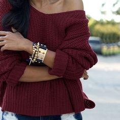 Deep burgundy sweater and shorts Look Fashion, Fashion Outfits, Womens Fashion, Cheap Fashion, Street Fashion, Fashion Beauty, Looks Style, Style Me, Trendy Style