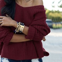 Burgundy Cable Knit Pullover