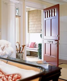 Dutch door with high windows.  Can open the door to speak to someone without the dogs running out.  - Google Search