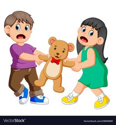 Girl and boy fighting over a doll vector image on VectorStock