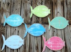 School Of 6  Wooden Fish, Rustic Wall Hanging, Coastal Decor, MADE TO ORDER via Etsy