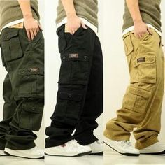 Mens Baggy Combat Trousers