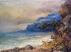 AUTUMN SEASCAPE Fine Art ORIGINAL Oil Painting by Sevryuzhenko J. 2000 Handmade Artwork One of a Kind Sea Landscape Marine