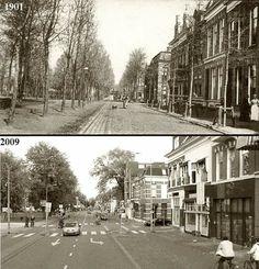 Nieuwe Ebbingestraat, links plantsoen, links Korreweg... 1901 en 2009