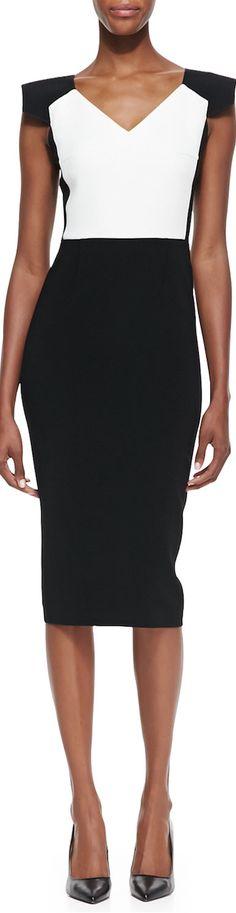 Roland Mouret Atria Cap-Sleeve Sheath Dress in Ivory/Black LOOKandLOVEwithLOLO: Dress for Success