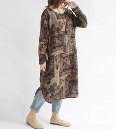 "【Fabric】 Cotton, linen 【Color】 Photo Color 【Size】 Shoulder 42cm / 16 "" Bust 110cm / 43 "" Sleeve 55cm / 21 "" Great arm circumference 35cm / 14 "" Cuff around 27/11 "" Length 1..."