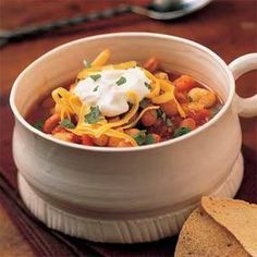 Hominy Chili with Beans | Hominy is made of dried corn kernels from which the hulls and germs have been removed. You can find it in the canned-vegetable section of the supermarket near the corn.MyRecipes.com