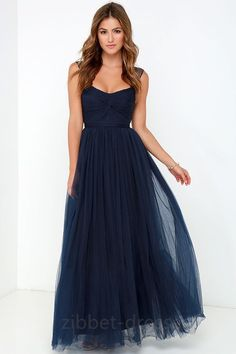 Garden blue blue charming dress Hot Neck Dark blue Prom Dresses Cheap Tulle Long Prom Dress by dresses, $129.00 USD