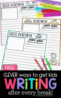 Clever Ways to Get Kids Writing After A Break (That are free!) - Around the Kampfire