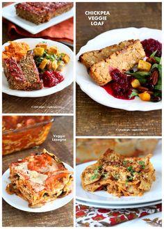 Vegan Holiday Main Entree Recipes | http://VeganRicha.com #LentilLoaf #Lasagna…