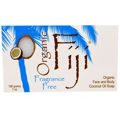 Organic Fiji, Organic Face and Body Coconut Oil Soap, Fragrance Free, 7 oz (198 g)