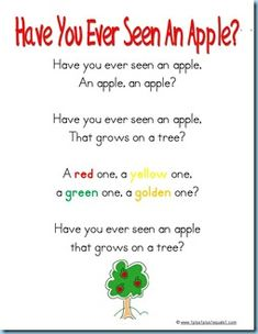 Special ~ Apple Songs for Music Time - Bingo and Have You Ever Seen A Lassie tunes!Something Special ~ Apple Songs for Music Time - Bingo and Have You Ever Seen A Lassie tunes! Preschool Apple Theme, Apple Activities, Preschool Music, Fall Preschool, Preschool Themes, Preschool Lessons, Preschool Apples, Kindergarten Music, Preschool Class