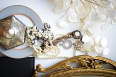 Gold Styled Photography Print / Pearls and Costume by KMandCo, $39.00