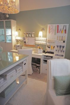 Pretty Craft Room!  With a Little Bit of Glamour {JDS Designs}   Craft Storage Ideas