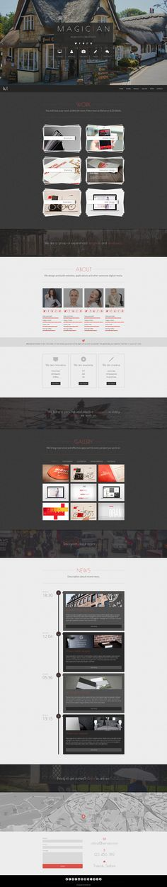 'Magician' is a $12 responsive one page template with a few unique elements compared to the norm. The portfolio section has has a scattered feel with an option to link to other pages but also just show big thumbnails keeping the site one page. Other features include Isotope gallery With Fancybox, parallax scrolling and a responsive design.