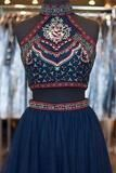 Cute Short A-Line Glitter Navy Blue Backless Sexy Fashion Two Pieces Homecoming Dresses PH38