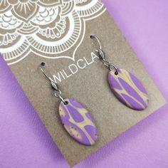 Wildclay Purple and Ecru Polymer Clay Dangle Earring Dangle Earrings, Pendant Necklace, Body Lotions, Polymer Clay Earrings, Cleaning Wipes, Dangles, Perfume, Purple, Unique