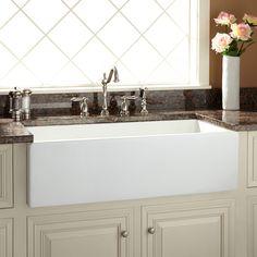 """36"""" Risinger 60/40 Offset Bowl Fireclay Farmhouse Sink - Smooth Apron - White"""