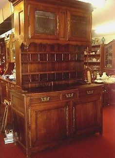 Antique-Lg-FRENCH-Provincial-VAISSELIER-CABINET-SIDEBOARD-H93-x-W60-BUFFET