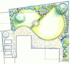 A split level garden plan with a diagonal wall to add energy and a round step like the jewel in a bracelet.