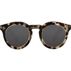 Illesteva Leonard II Ring Sunglasses ($290) ❤ liked on Polyvore featuring accessories, eyewear, sunglasses, glasses, occhiali, multi, illesteva, round tortoiseshell sunglasses, tortoise shell glasses and round tortoise sunglasses