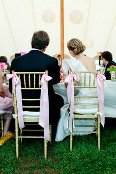 simple bows on chairs