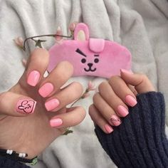 Nail art Christmas - the festive spirit on the nails. Over 70 creative ideas and tutorials - My Nails K Pop Nails, Aycrlic Nails, Cute Nail Art, Cute Nails, Pretty Nails, Korean Nail Art, Korean Nails, Army Nails, Gothic Nails