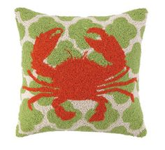 Bold Crab Coastal Decor Pillow
